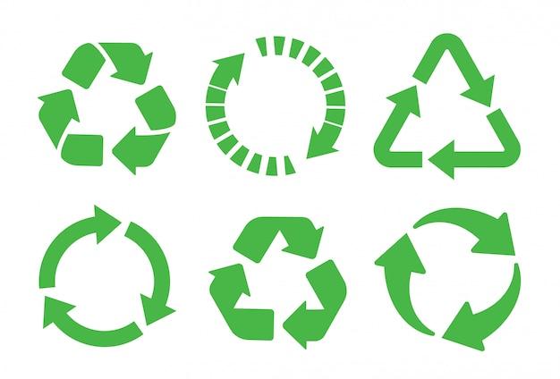 Reciclar conjunto de ícones. reciclagem de cor verde. Vetor Premium