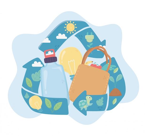 Reciclar garrafa de sacola de compras e lâmpada ambiente ecologia Vetor Premium