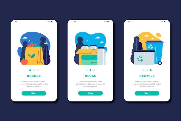 Reciclar tema de tela do aplicativo integrado Vetor grátis