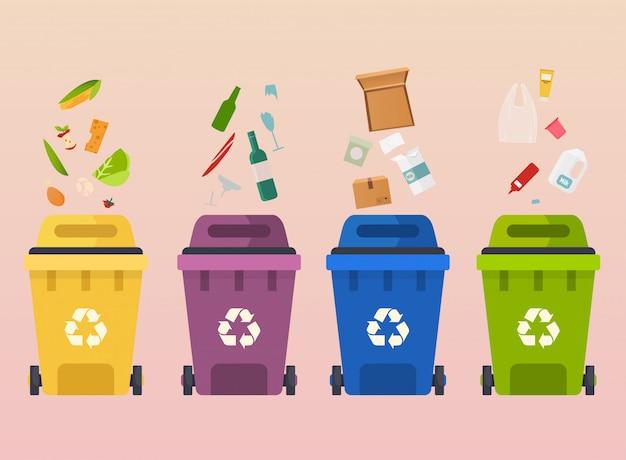 Recicle latas de lixo. reciclagem de segregação de tipos de resíduos: orgânico, papel, resíduos de vidro. Vetor Premium