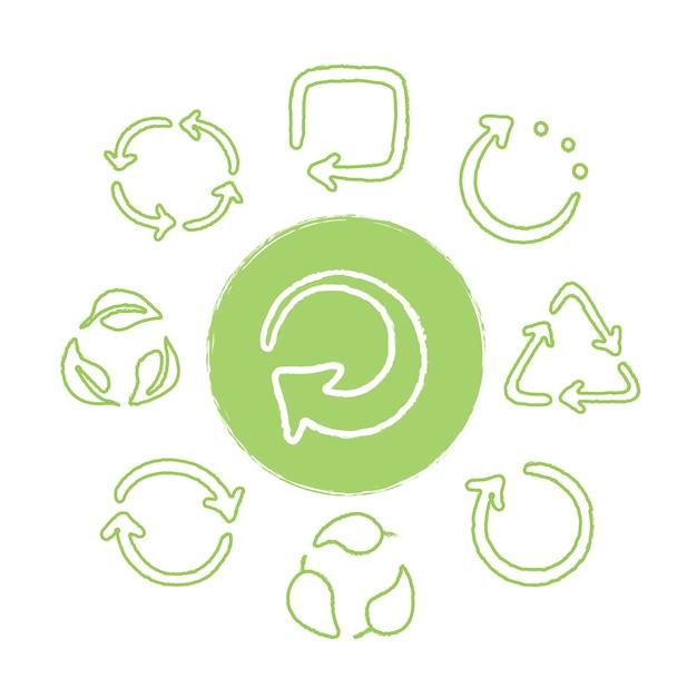 Recicle o conjunto de ícones verdes desenhados à mão. reutilizando símbolos Vetor Premium