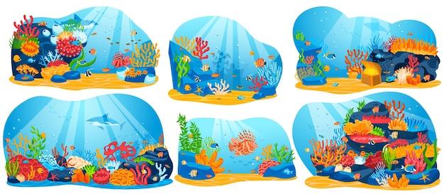Recifes de corais, ilustração vetorial de vida marinha subaquática, aquário oceano plano de desenho animado ou coleção de águas do mar com algas e peixes Vetor Premium