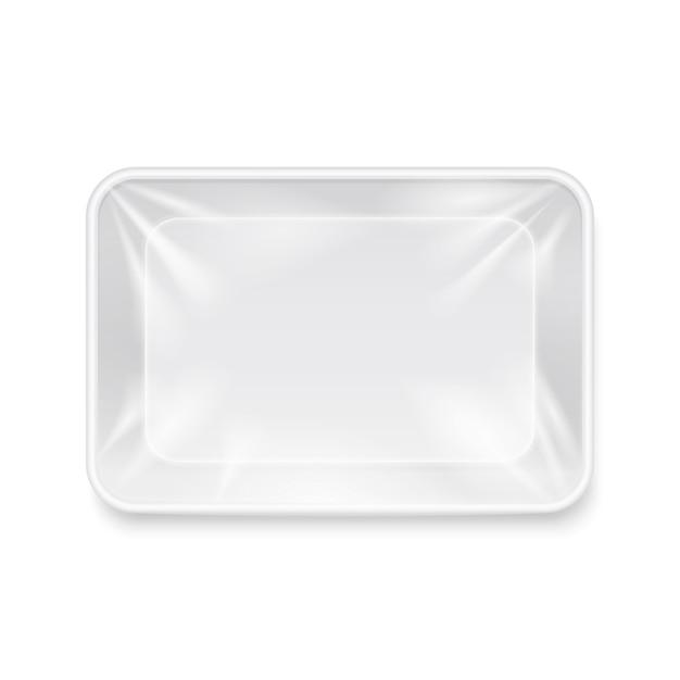 Recipiente de alimento plástico branco vazio, modelo de bandeja de embalagem. pacote para armazenamento Vetor Premium