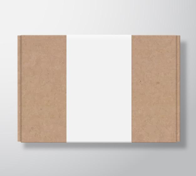 Recipiente de caixa de papelão de artesanato com modelo de etiqueta branca transparente. Vetor grátis