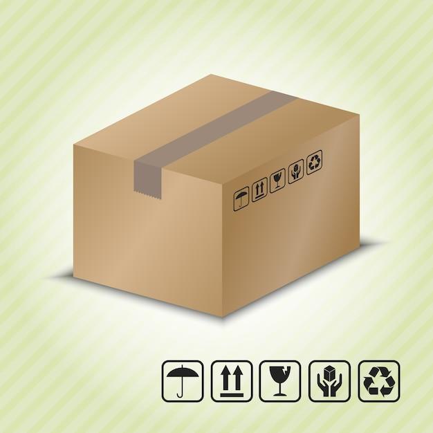 Recipiente de cartão com símbolo de manipulação de pacotes. Vetor Premium
