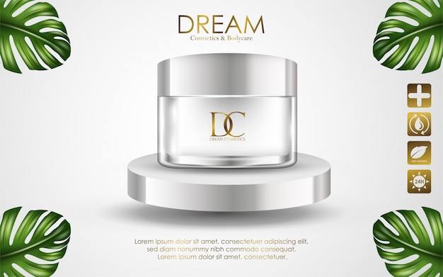 Recipiente de creme cosmético isolado no fundo branco Vetor Premium
