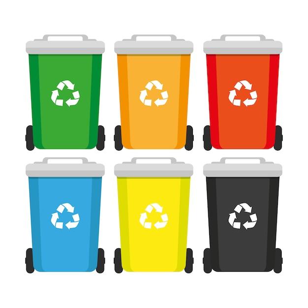 Recipiente de lixo. caixote do lixo e lixo, conceito de vetor Vetor Premium