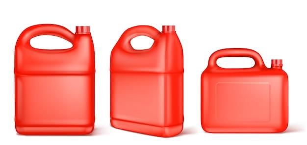 Recipiente de plástico vermelho para combustível líquido, cloro, óleo de motor, lubrificante de carro ou detergente. Vetor grátis