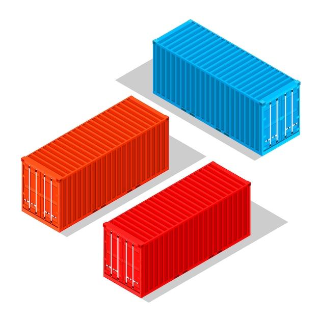 Recipientes de carga isolados no branco Vetor Premium