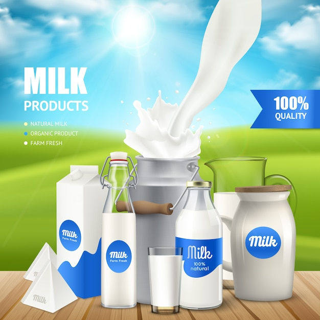Recipientes de leite realista no poser de mesa Vetor grátis