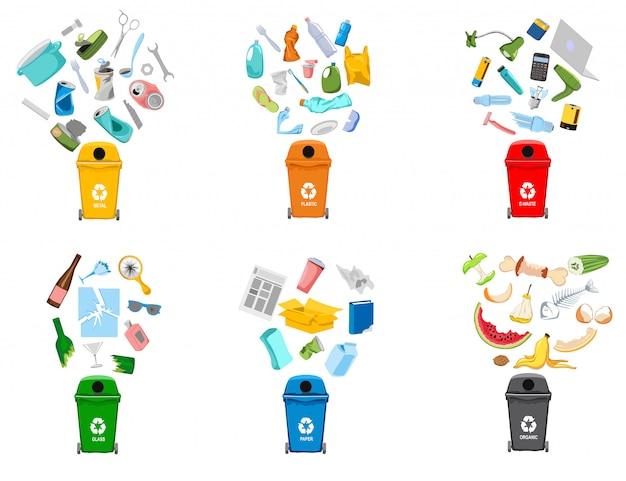 Recipientes de lixo e tipos de lixo Vetor Premium