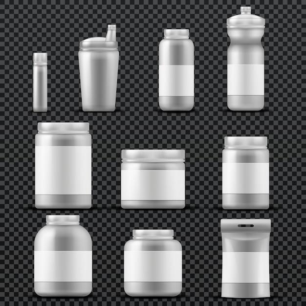 Recipientes de plástico de suplemento esportivo para bebidas e pó. modelos de vetor isolados. embalagem de nutrição esporte, recipiente com suplemento de esporte para ilustração de musculação Vetor Premium