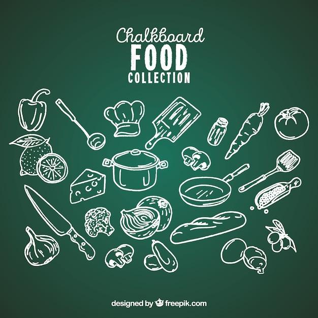 Recolha de alimentos no estilo de quadro-negro Vetor grátis