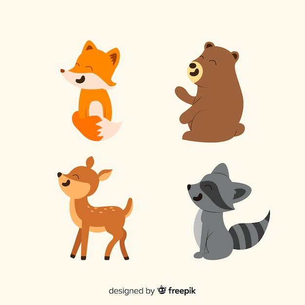 Recolha de animais da floresta Vetor grátis