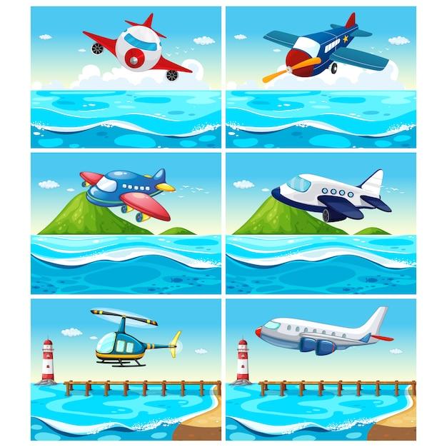 Recolha de avião fundos Vetor grátis