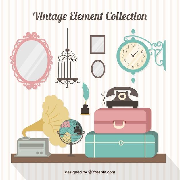 Recolha de bagagem e antigos elementos no design plano Vetor grátis