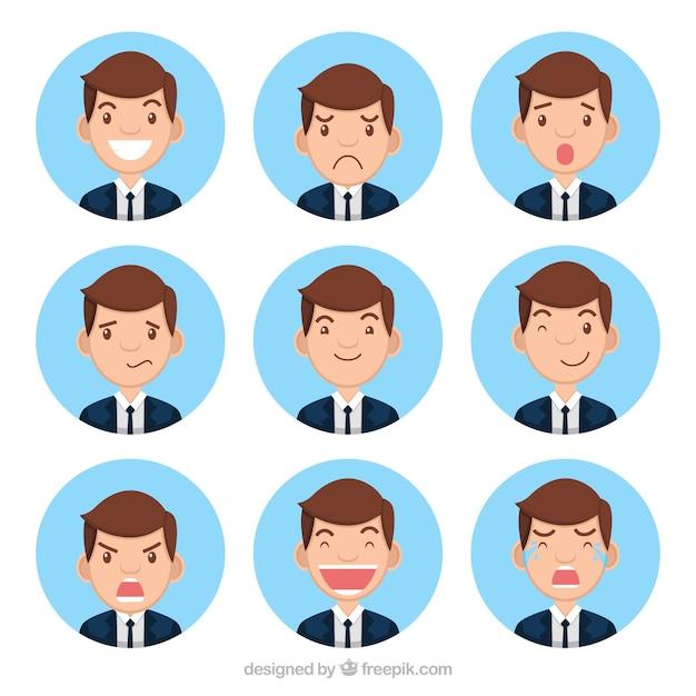Recolha de caráter empresário com nove rostos expressivos Vetor grátis