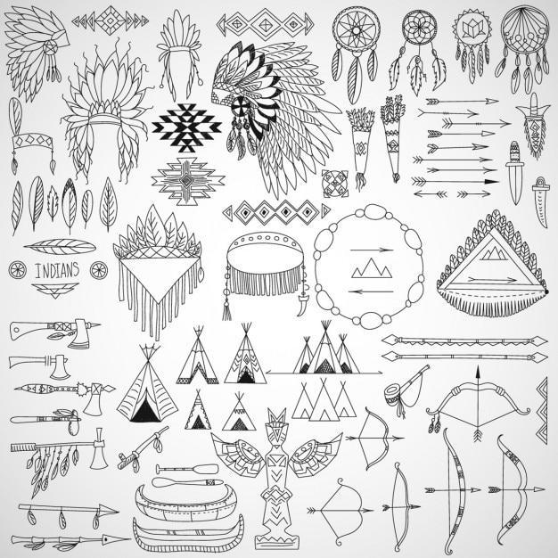 Recolha de elementos de design do doodle tribal Vetor grátis