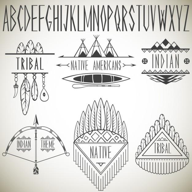 Recolha de elementos de design tribais e ilustração alfabeto vector Vetor grátis