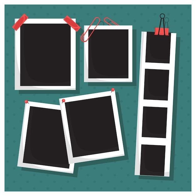 Recolha de imagem com grampos e fita adesiva Vetor Premium