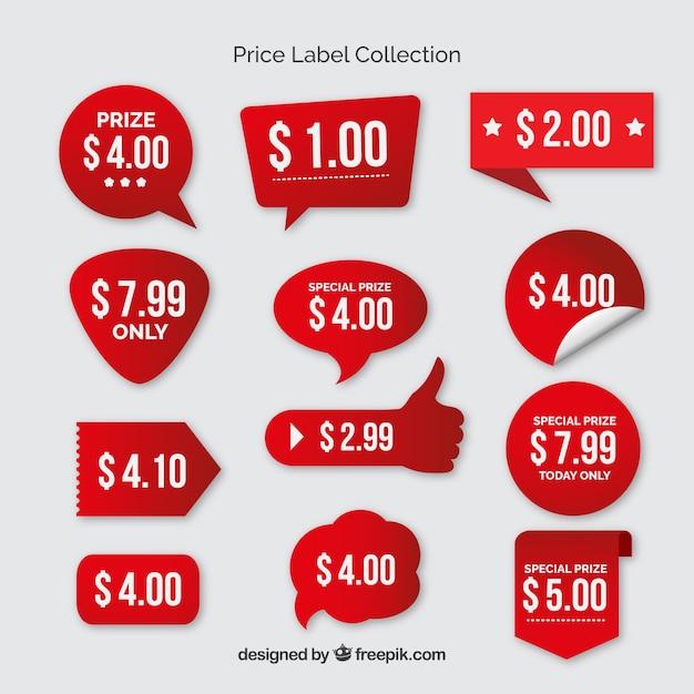 Recolha de preços etiquetas vermelhas Vetor grátis