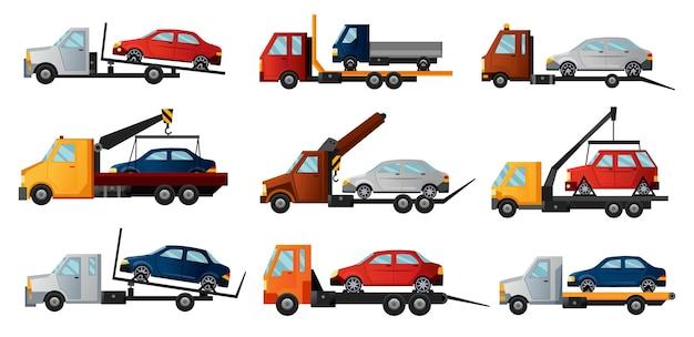 Recolha de reboques. caminhões de reboque planos legais com carros quebrados. Vetor Premium