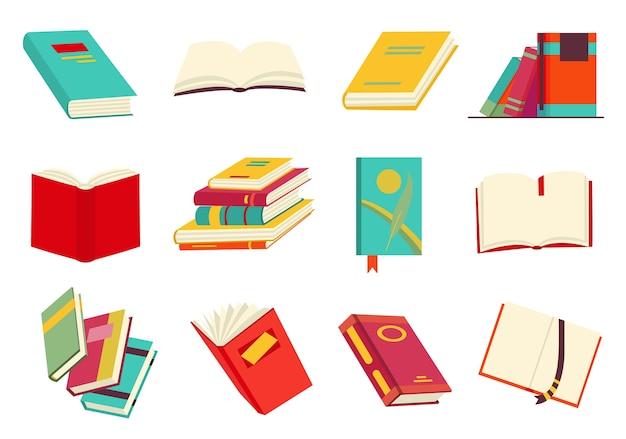 Recolha de vários livros, pilha de livros, cadernos. ler, aprender e receber educação por meio de livros. leia mais livros. desenho educacional. estilo de design plano. Vetor Premium