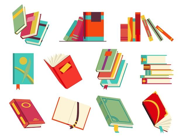 Recolha de vários livros, pilha de livros, cadernos. Vetor Premium
