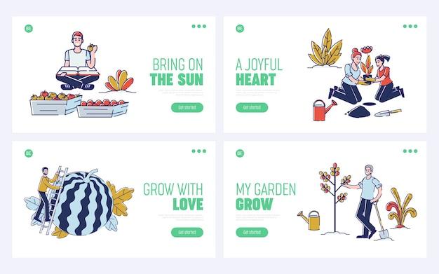 Recolhendo o conceito de colheita. página inicial do site. Vetor Premium