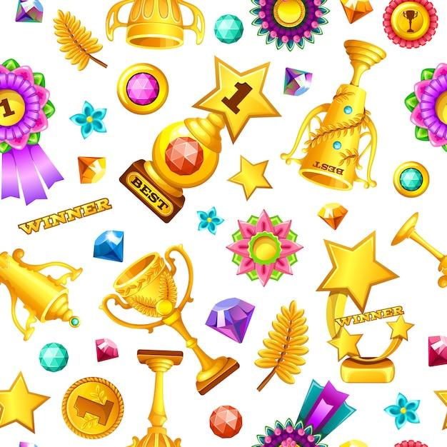 Recompensas sem emenda dos jogos do ouro dos desenhos animados do teste padrão. Vetor Premium
