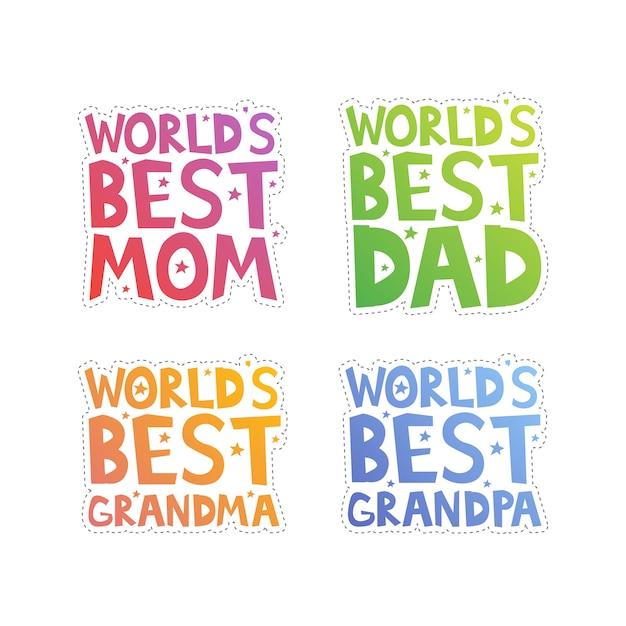 Recorte dos melhores parentes do mundo Vetor Premium