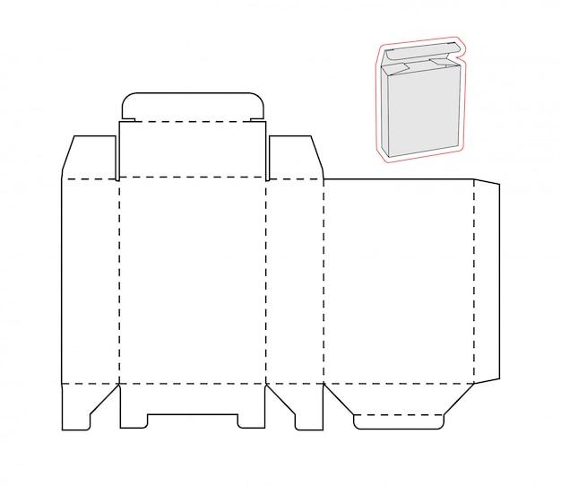 Recorte modelo de uma caixa simples Vetor Premium