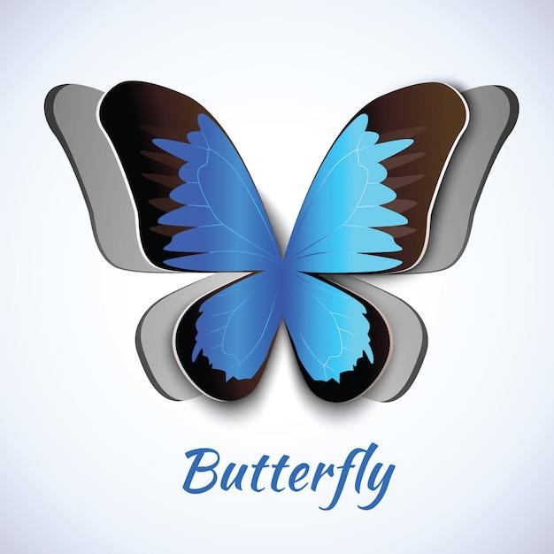 Recorte papel abstrato borboleta símbolo decorativo elemento cartão postal embelezamento Vetor grátis