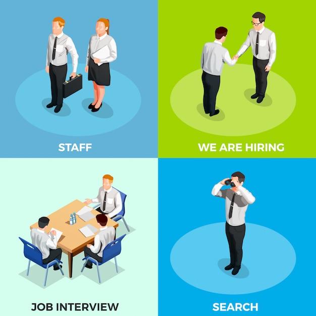 Recruitment isometric people set Vetor grátis