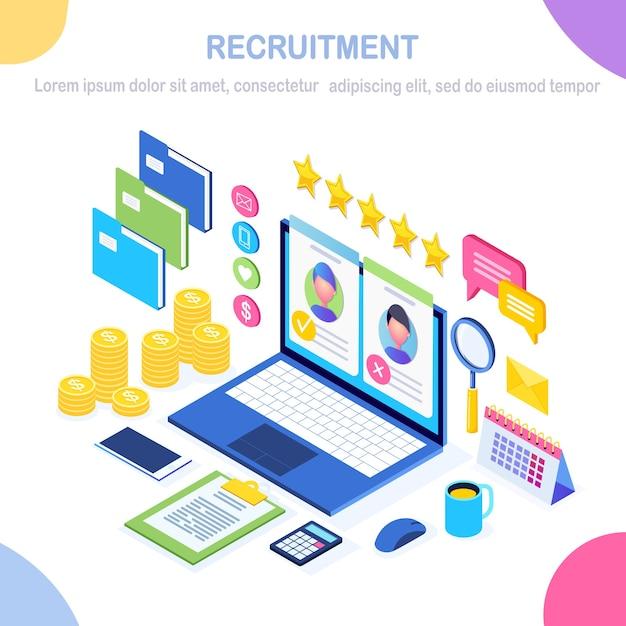 Recrutamento. computador isométrico, laptop, pc com currículo de cv, pasta, estrelas. recursos humanos, rh. Vetor Premium