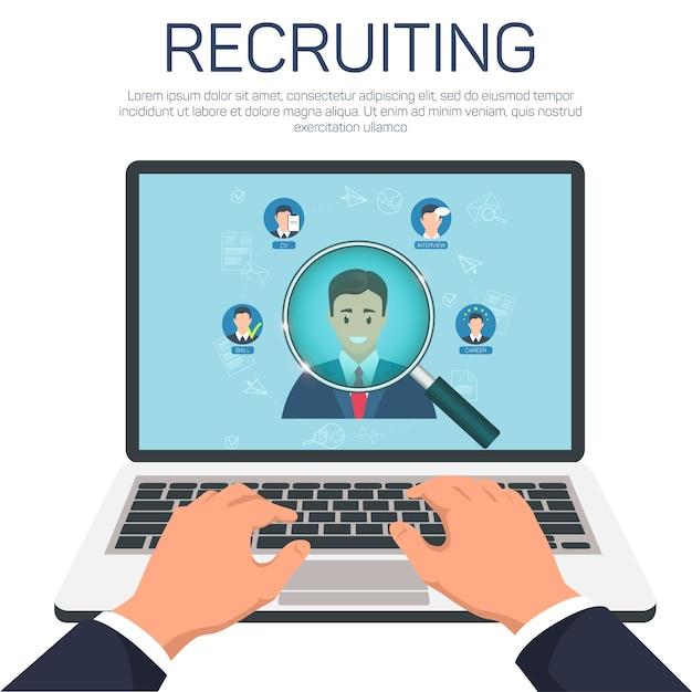 Recrutamento e busca do melhor banner candidato Vetor Premium