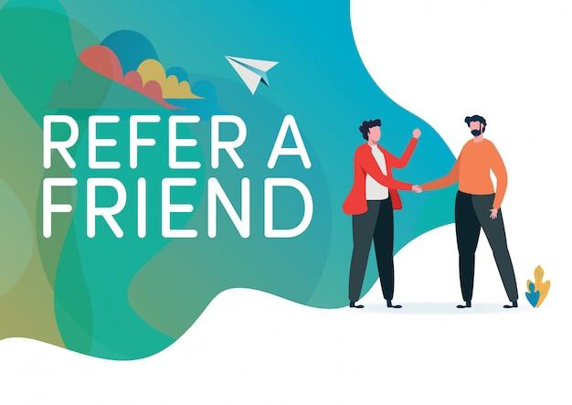 Recrutamento indique um amigo Vetor Premium