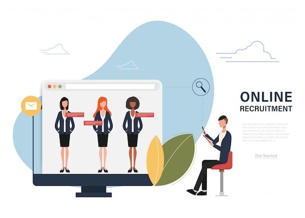 Recrutamento online gestão de recursos humanos. Vetor Premium