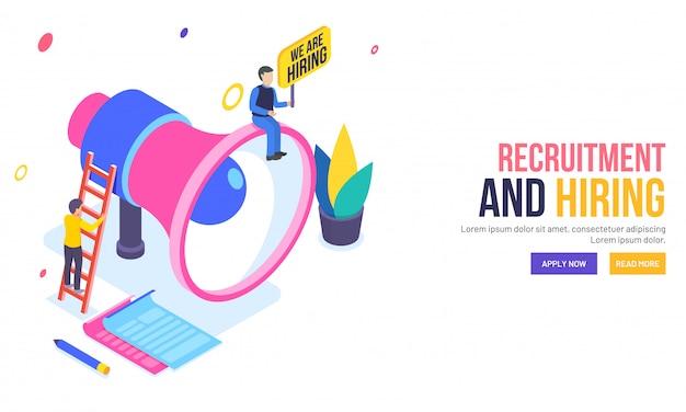 Recrutamento ou contratação de uma landing page baseada em conceito. Vetor Premium