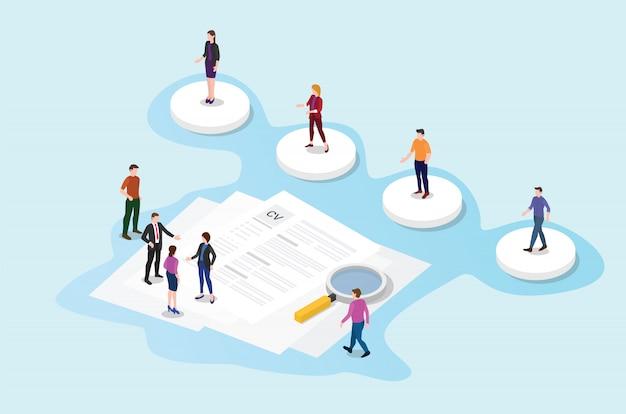Recrutamento ou processo de recrutamento com candidato com documento em papel cv Vetor Premium