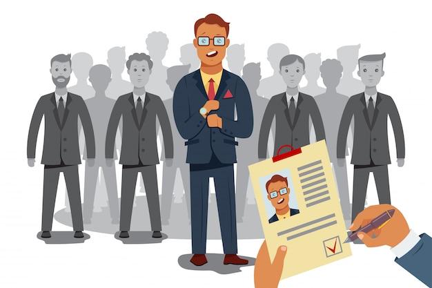 Recrutamento processam recursos humanos. Vetor Premium