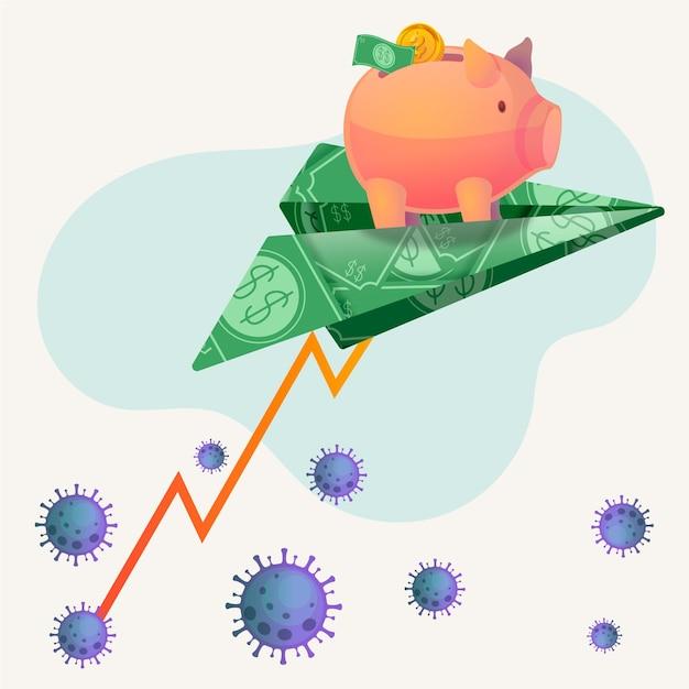 Recuperação financeira de coronavírus Vetor grátis