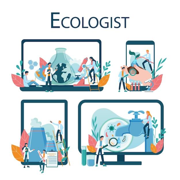 Recurso online de ecologistas em diferentes conjuntos de dispositivos. conjunto de cientista cuidando da ecologia e do meio ambiente. proteção do ar, solo e água. ativista ecológico profissional. Vetor Premium