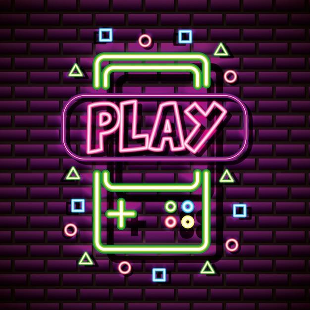 Recursos gráficos de videogame parede de tijolos, estilo neon Vetor grátis