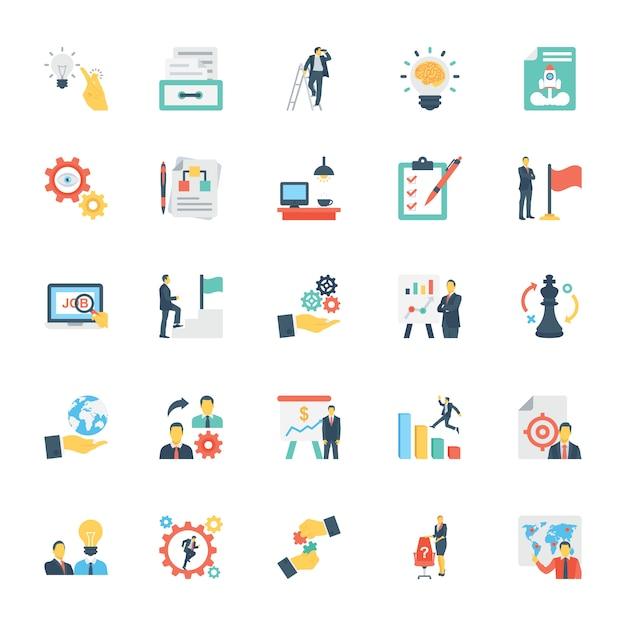 Recursos humanos e gestão de ícones coloridos Vetor Premium