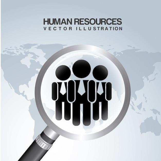 Recursos humanos sobre ilustração vetorial de fundo cinza Vetor Premium