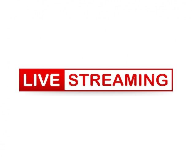 Red live streaming icon no fundo branco. Vetor Premium