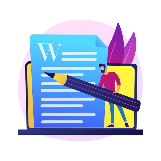 Redação de conteúdo criativo. redação publicitária, blogging, marketing na internet. edição e publicação de textos de artigos. documentos online. escritor, personagem do editor. Vetor grátis