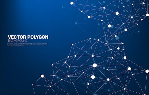 Rede conexão ponto polígono plano de fundo. rede negócios, tecnologia, dados e produtos químicos. o fundo abstrato da linha de conexão por pontos representa a rede futurista e a transformação de dados Vetor Premium