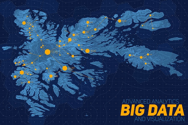 Rede de big data sobre o mapa. visualização gráfica de dados topográficos complexos. dados abstratos no gráfico de elevação. imagem colorida de dados geográficos. Vetor grátis